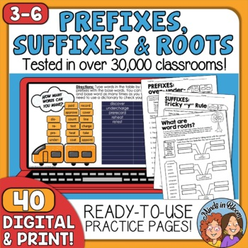 Prefixes, Suffixes & Roots Printables - CCSS Aligned with Answer Keys!