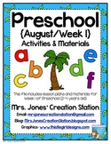 Preschool {August | Week 1} Activities and Materials