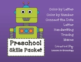 Preschool Skills Packet: Color by Number, Tracing & Mazes