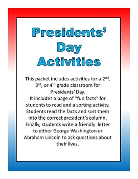 Presidents' Day Activities- 2nd, 3rd, or 4th Grade
