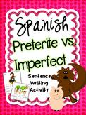 Preterite vs. Imperfect Spanish Sentence Writing Station A