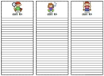 Printable Class Lists