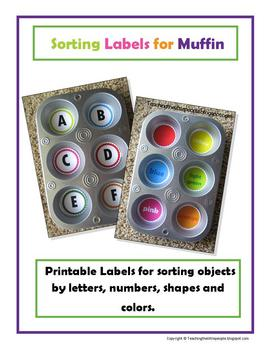 Printable Muffin Tin Labels for Sorting Image