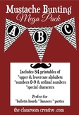 Fun Printable Mustache Bunting Mega Pack-(Alphabet, Number