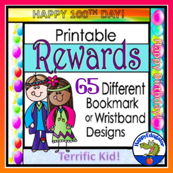 Printable Rewards -  30 Bookmarks or Wristbands