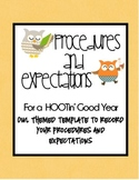 Procedures and Expectations Notebook:  Owl Themed