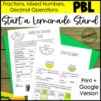 Project Based Learning: Lemonade Stand 5th Fractions and Decimals