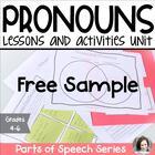Pronoun Unit Freebie - Parts of Speech Series Preview - Gr
