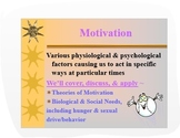 Psychology PPT: Theories of Motivation w/Maslow's Hierarch