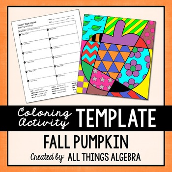 Pumpkin Coloring Activity Template - Personal Use Only!