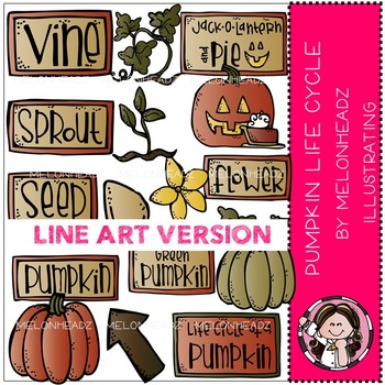 Pumpkin life cycle LINE ART bundle by melonheadz