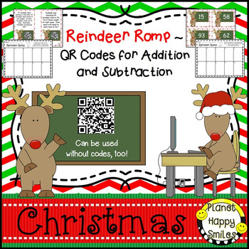 QR Addition & Subtraction Word Problems~ Reindeer Romp