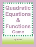 Quadratic Equations and Functions jeopardy style game