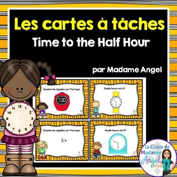 Quelle heure est-il?  French Telling Time Task Cards to th