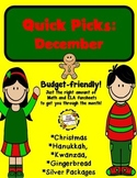 Quick Picks: December  (Budget-Friendly ELA and Math Funsheets)