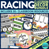 RACING Classroom Theme EDITABLE Decor-34 Printable Product Bundle