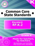 RF.K.2 Kindergarten Common Core Bundle - Worksheet, Activi