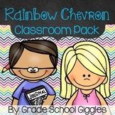 Rainbow Chevron Editable Classroom Pack