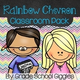 Rainbow Chevron Editable Classroom Pack