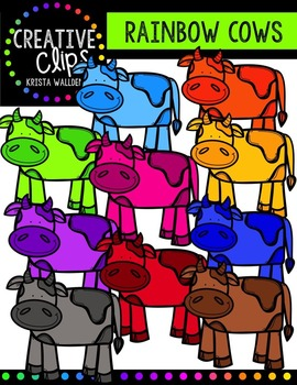 Rainbow Cows {Creative Clips Digital Clipart}