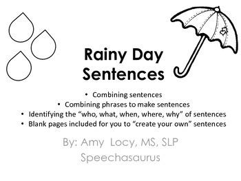 Rainy Day Sentences (Black and White, No Prep)