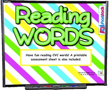 Reading CVC Words SMART BOARD Game