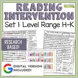 Reading Intervention Program for Big Kids: Set One Levels H-K