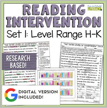 Reading Intervention Program for Big Kids: Set One Levels H-K