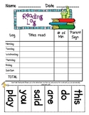 Reading Log with Sight Word Practice