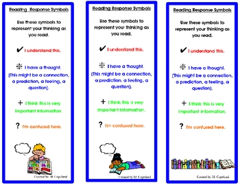 Reading Response/ Annotation Symbols Bookmark