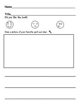 Reading Response Worksheet for Kindergarten