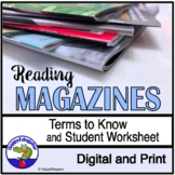 Reading a Magazine Terms and Worksheet