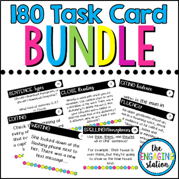 156 Secondary Reading/Writing Task Card GROWING BUNDLE