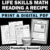 Life Skills Cooking Reading a Recipe Math Measurement Spec