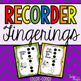 Recorder Fingerings~ Coordinates with Color-Coded Instruments