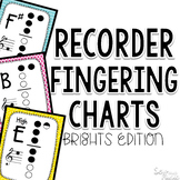 Recorder Fingerings with Bright Colored Backgrounds