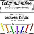 Recorder Karate / Recorder Dojo Certificates FREEBIE