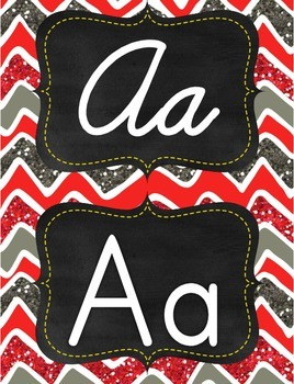 Red, grey, white glitter chevron manuscript print and curs