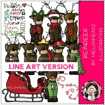 Reindeer LINE ART bundle by melonheadz