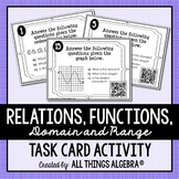 Relations, Functions, Domain and Range: Task Cards