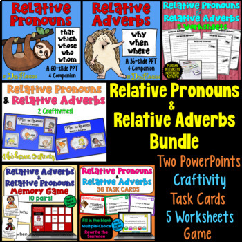 Relative Pronouns & Relative Adverbs BUNDLE of Activities