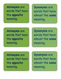 Reminder statements about antonyms and synonyms