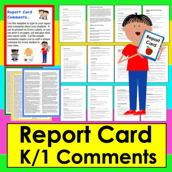 Report Card Comments Labels : 60 Sample Comments: Beginning, Middle & End Year