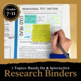 Research Binder Projects: 170 pages of Common Core Aligned