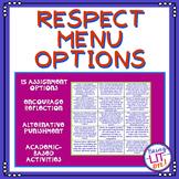 Respect Menu Options