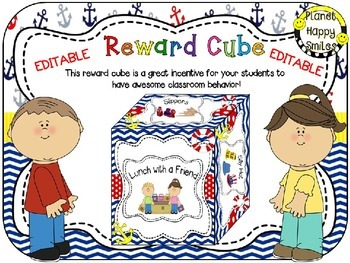 Reward Cube (EDITABLE) in a Nautical Theme