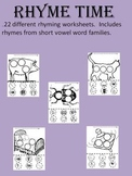 Rhyme Time - 22 different rhyming worksheets