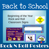 Beginning of the Year Rock 'N Roll Classroom Signs
