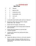 Rock Review Sheet and TEST with Rock Cycle chart and answer keys