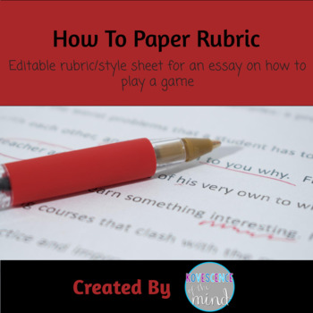 Rubric for How To Paper